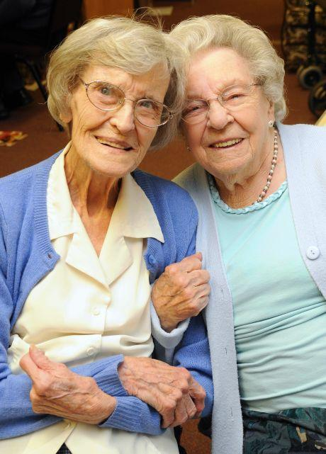 Margaret Jarvis, left, with fellow centenarian Edith Danby