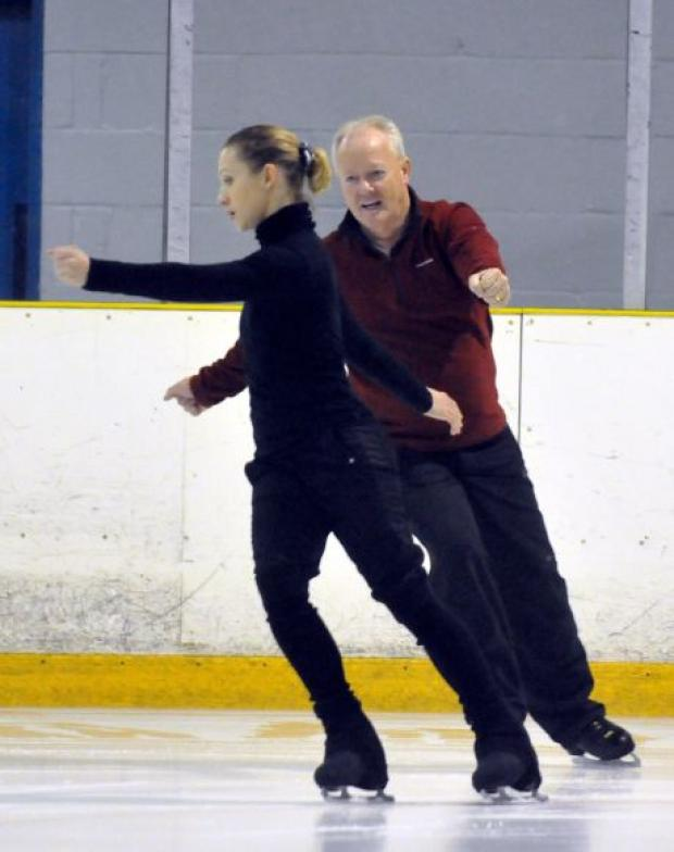 Keith Chegwin at Basingstoke's Planet Ice with skating partner Olga Sharutenko