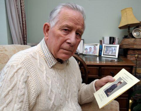 Tony Davie with a picture of his late wife