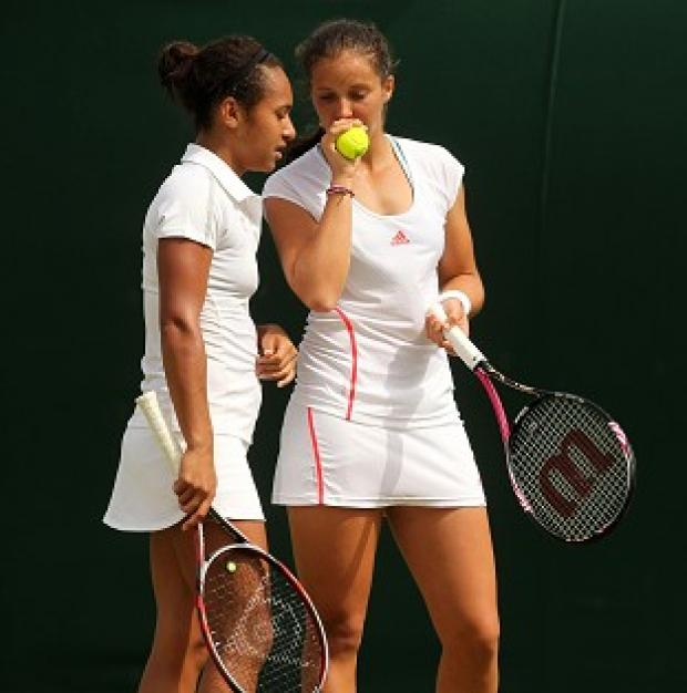 Heather Watson, left, and Laura Robson secured a straight-sets doubles win for GB