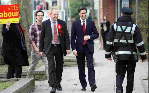 Labour leader Ed Miliband (right) with by election candidate John O'Farrell campaigning in Eastleigh