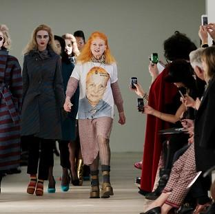 Vivienne Westwood with models on the catwalk during the Vivienne Westwood Red Label show in London