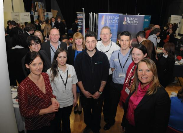 Representatives of companies involved with the Wellington Academy Careers Day with organiser Maria Hamblin(right)