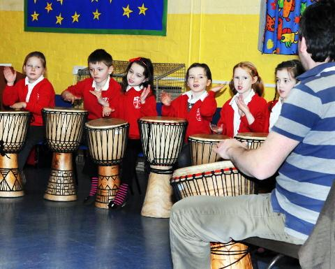 Pupils bang the drums