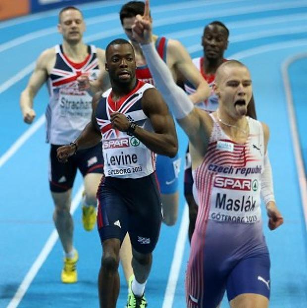 Nigel Levine, centre, finishes second behind the Czech Republic's Pavel Maslak