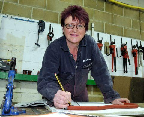 Plumbing and heating apprentice Maria Butler, who works at Tadley Bathrooms