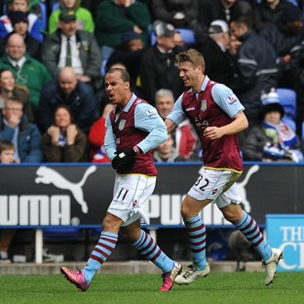 Gabriel Agbonlahor, left, celebrates scoring Aston Villa's second goal of the game