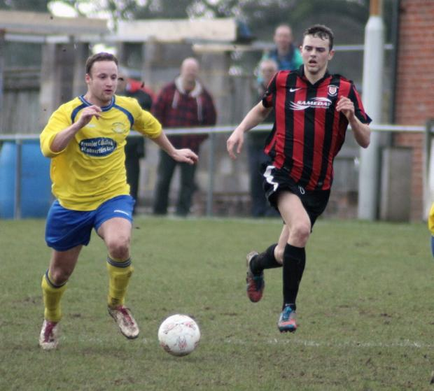 Dean Smith in action at Petersfield. He hit the bar in the second half for New Street.