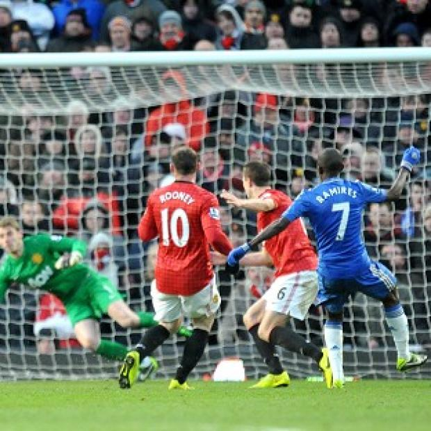Ramires, right, scores Chelsea's equaliser in the 2-2 draw at Old Trafford
