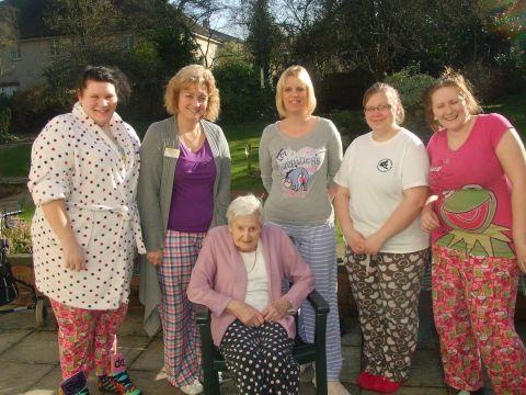 Staff at Tegfield House in their pyjamas