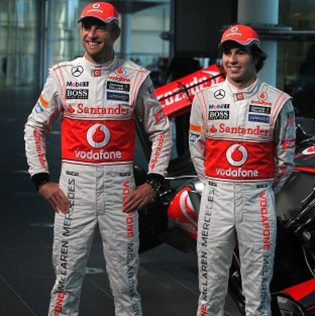 Jenson Button, left, and Sergio Perez finished ninth and 11th respectively in Melbourne