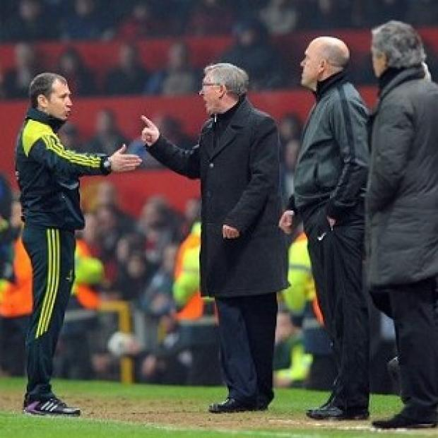 Sir Alex Ferguson, second left, and Nani will today learn if UEFA will take further action against them