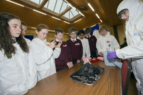 Students take part in the science event at Tadley Community Centre