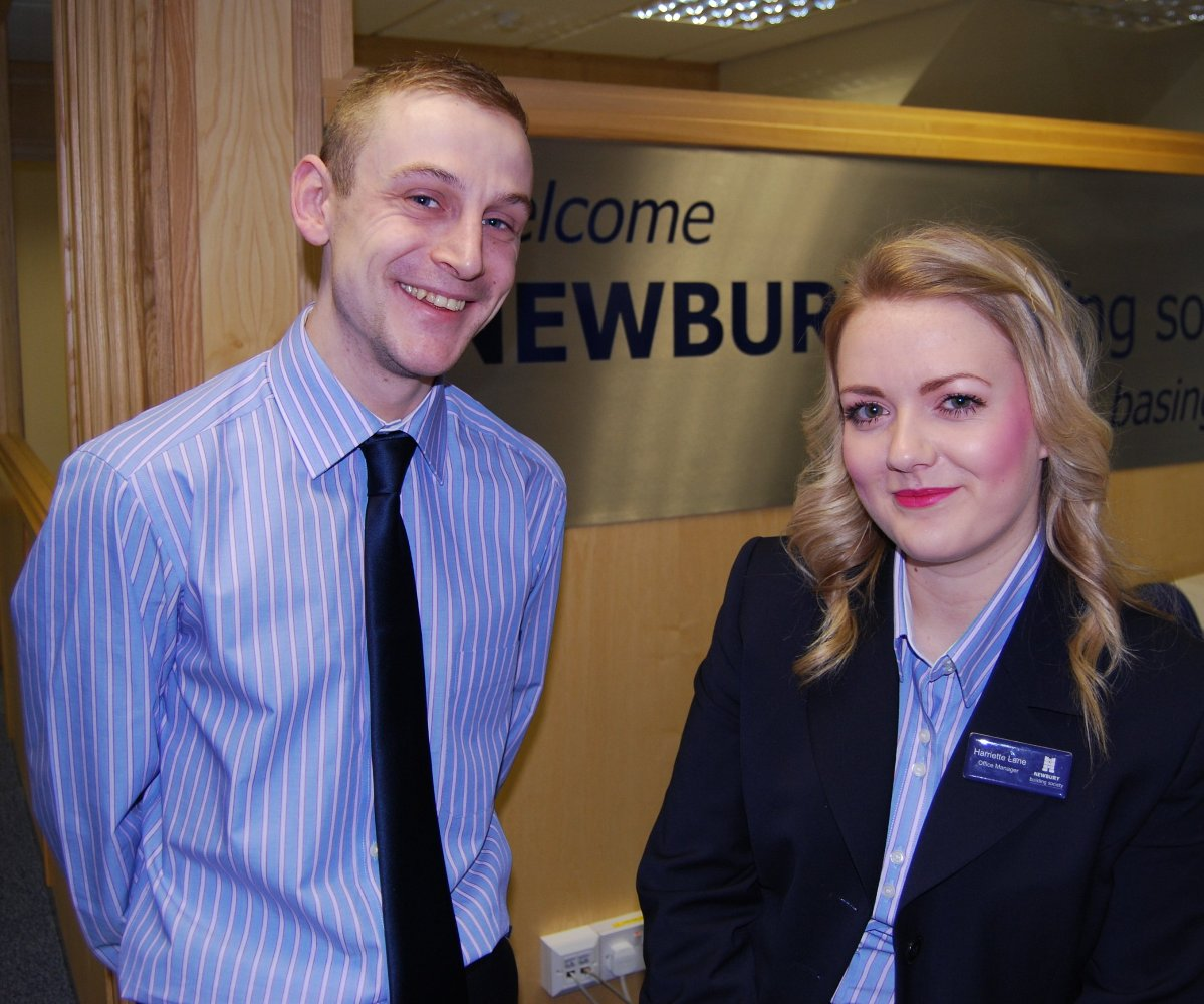 Newbury Building Society customer consultant Matthew Long and Basingstoke branch manager Harriette Lane