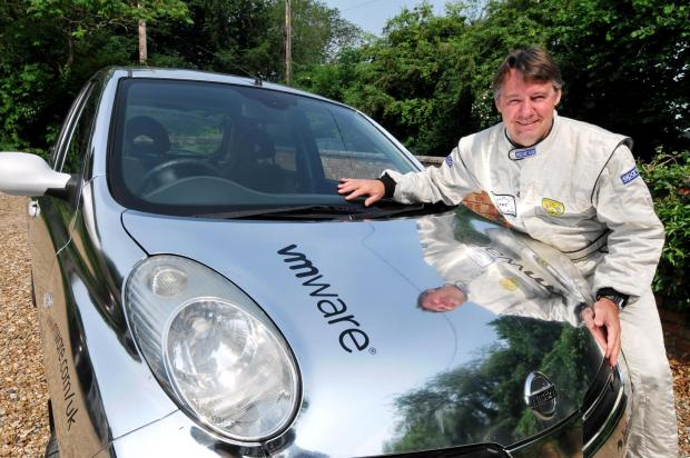 David Coplestone with his chrome-painted Nissan Micra