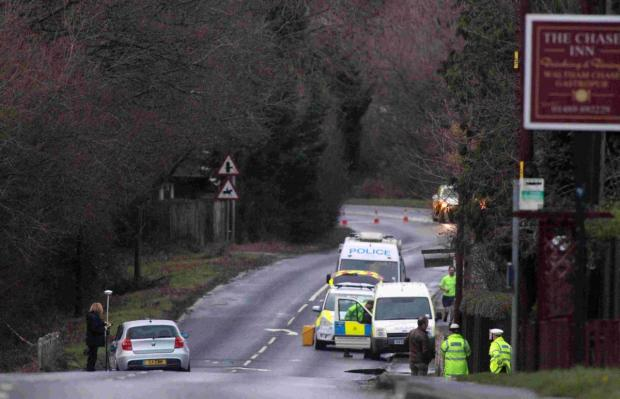 Andover Advertiser: The accident scene on Thursday