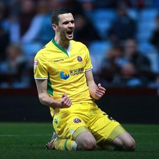 Jamie Murphy celebrates scoring Sheffield United's first goal