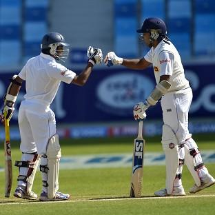 Kaushal Silva, right, was unbeaten on 98 at tea