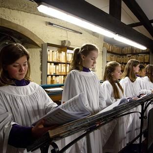 Andover Advertiser: Members of the Canterbury Cathedral Girls Choir rehearse for the first time in the Singing Room of Canterbury Cathedral