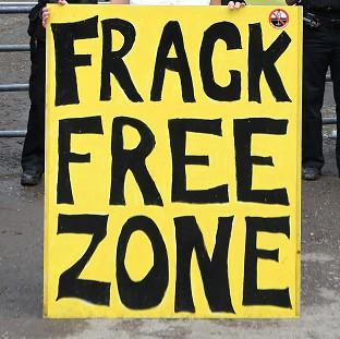 An anti-fracking protest has been held on the outskirts of Salford