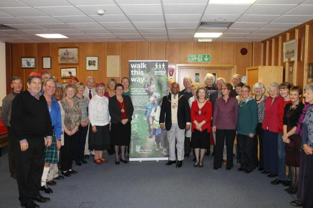 The Mayor with health walk leaders from across the borough.