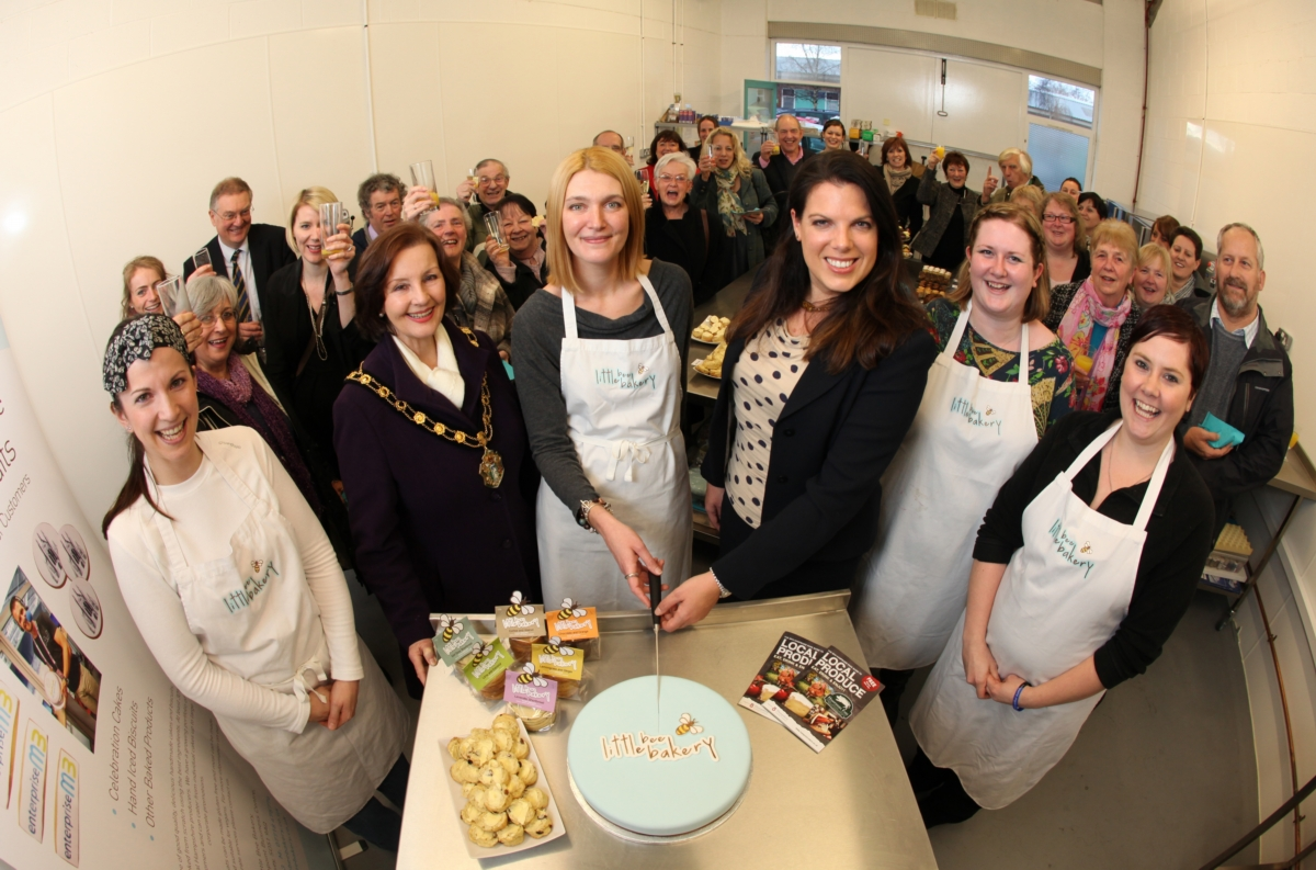 Melissa O'Dwyer (centre) at the launch of her new business premises, with Test Valley mayor, Janet Whiteley and Romsey MP, Caroline Nokes and her team of Ruth Gamblin, Robyn Harrison and Nicky Nye and invited guests