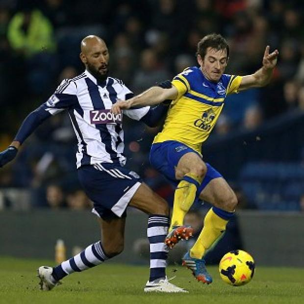 Andover Advertiser: Nicolas Anelka, left, started West Brom's draw with Everton