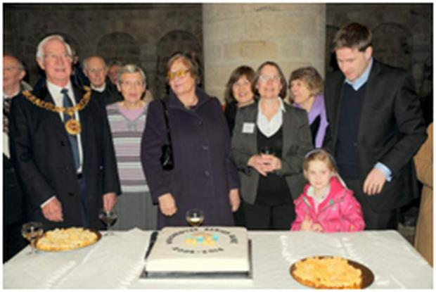 Caption: Cllr Ernie Jeffs, Renee Bowe, Barbara Jeffs, Frances Rogers, Steve Brine (with daughter)