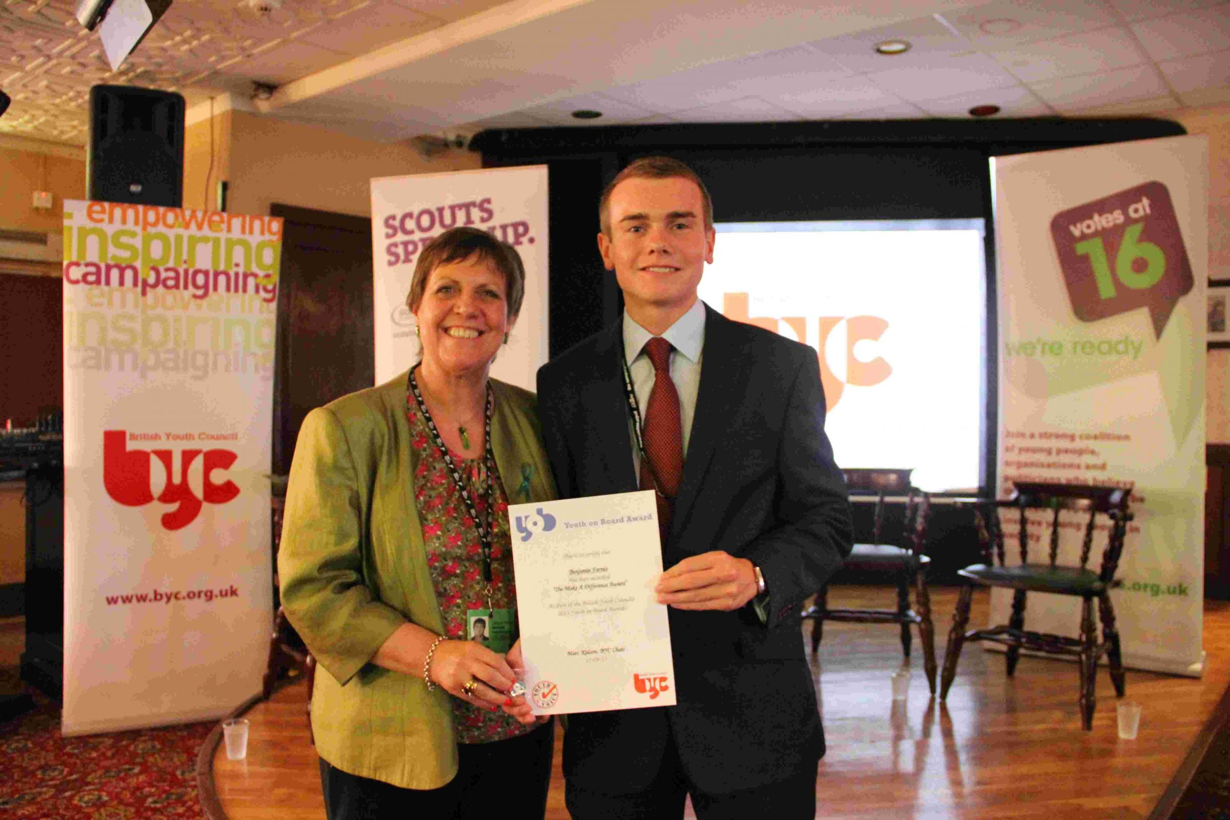 Julia Hilling, MP for Bolton West and trustee for the British Youth Council, with Benjamin Farnes.