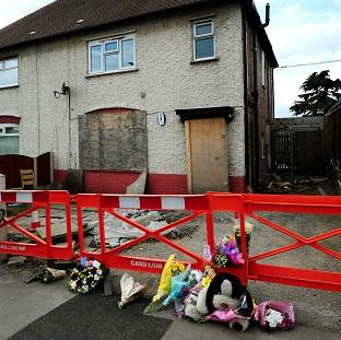 Andover Advertiser: Mick Philpott's house, where the six children died in the fire on May 11 2012