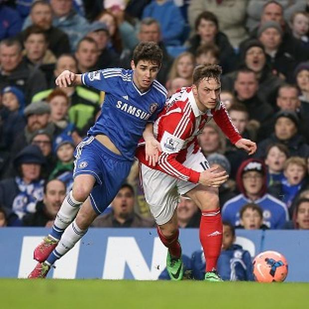 Andover Advertiser: Oscar, left, scored against Stoke to see Chelsea through to the FA Cup fifth round