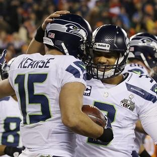 Seattle Seahawks' Jermaine Kearse celebrates with teammate Percy Harvin after catching a 23-yard touchdown pass during the second half of the NFL Super Bowl XLVIII football game against the Denver Broncos (AP)