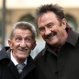 Andover Advertiser: The Chuckle Brothers, Barry (left) and Paul Elliott, arrive at Southwark Crown Court in London