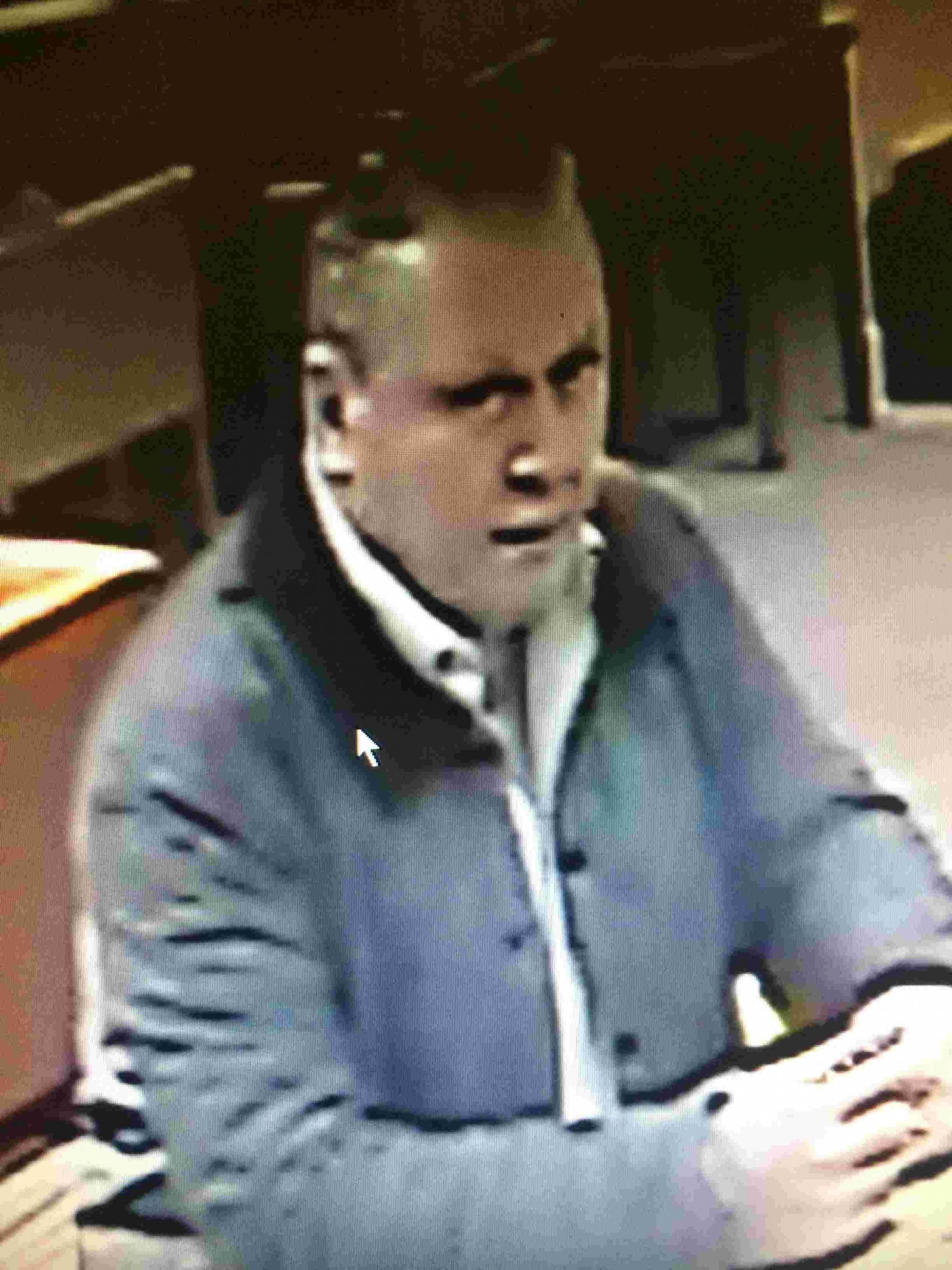 Police want to speak to this man in connection with three thefts from Marwell Hotel.