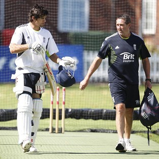 Graham Gooch, right, has given his backing to Alastair Cook, left