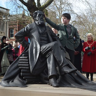 Oliver Dickens, aged nine, at the unveiling of the first statue in the UK of his great-great-great-grandfather Charles Dickens in Portsmouth