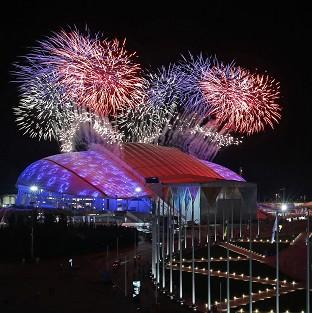 Fireworks are seen over Olympic Park during the opening ceremony of the 2014 Winter Olympics in Sochi (AP)