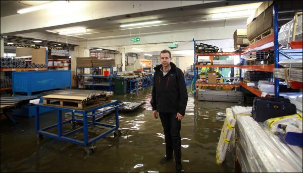 Andover Advertiser: Wessex Lifts in their flooded factory