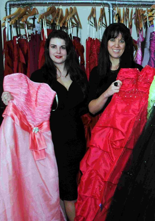 Andover Advertiser: L-R: Charlie Hobbs and Caz Ford who together run dress hire business Elegance Boutique