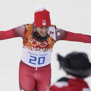 Sandro Viletta celebrates after winning gold (AP)