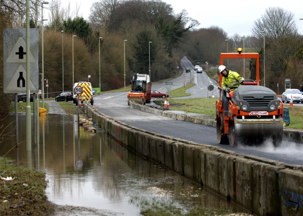 Temporary road built in Winchester to combat flood problems