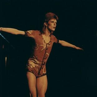 Andover Advertiser: David Bowie in the Ziggy Stardust outfit which was worn by Kate Moss as she accepted his British male award (Bowie PR/PA)