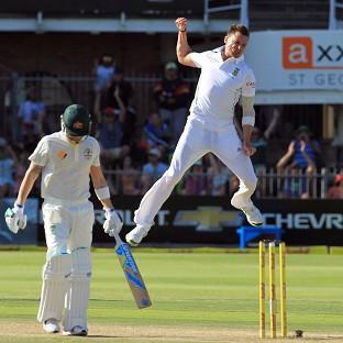 Dale Steyn, right, celebrates the wicket of Michael Clarke (AP)