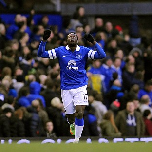 Romelu Lukaku celebrates after netting the winner at Goodison Park