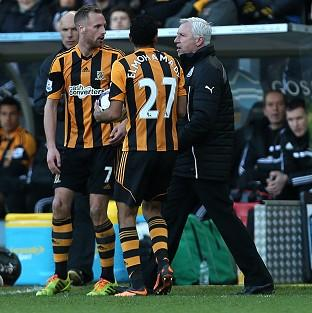 Alan Pardew, right, was sent to the stands after his confrontation with David Meyler, left, during Saturday's match at the KC Stadium