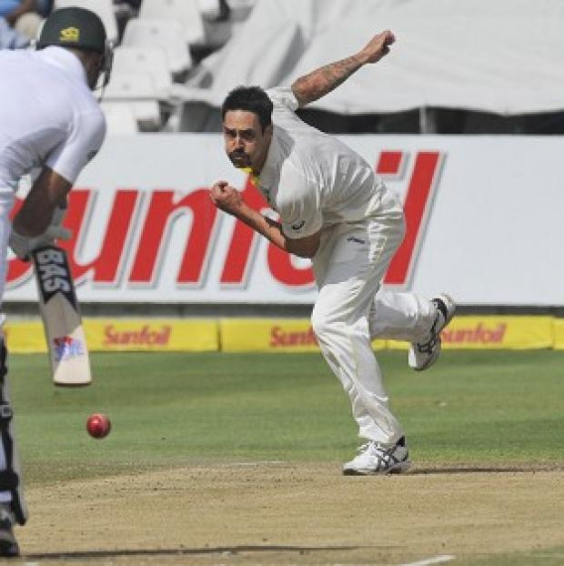 Andover Advertiser: Mitchell Johnson, right, took four wickets in South Africa's first innings to give his side the ascendancy (AP)