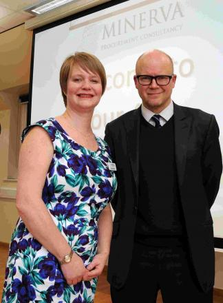 Lorraine Ashover with Toby Jones at Lord Wandsworth College