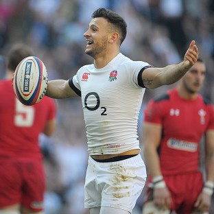 Danny Care celebrates scoring England's opening try against Wales at Twickenham