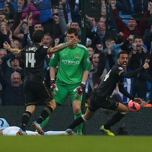 James Perch, right, was Wigan's goal hero against City