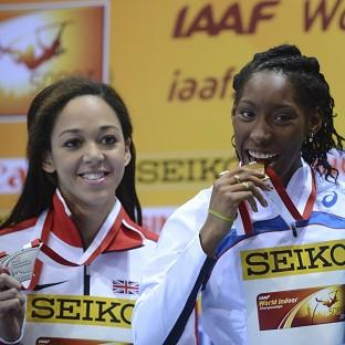 Katarina Johnson-Thompson, left, secured silver in Sopot (AP)